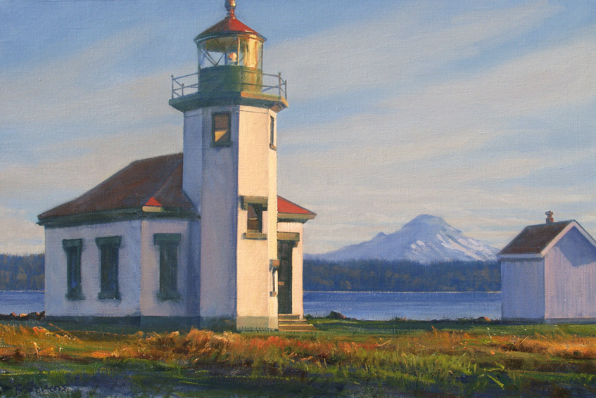 vashon light, landscape painting, oil painting, lighthouse painting, Pacific Northwest landscape, Maury Island lighthouse, Vashon Island landscape painting, Mt. Rainier