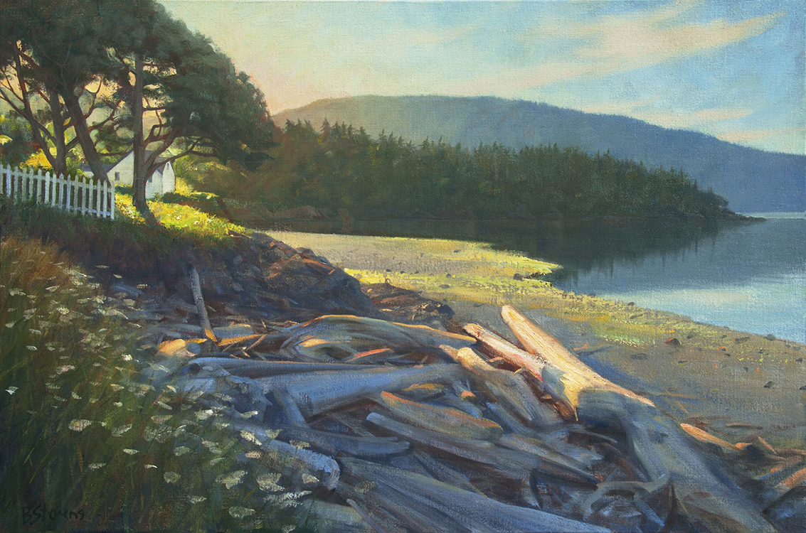 morning-light, oil painting, Pacific Northwest landscape painting, Western landscape, Orcas Island, San Juan Islands, Eastsound waterfront park, Eastsound WA, Fishing Bay beach, Outlook Inn, Mt. Constitution
