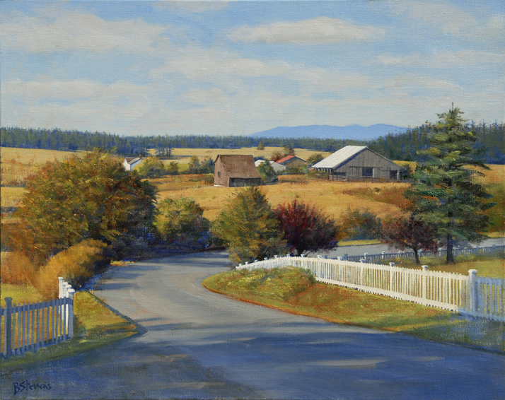 a bend in the road, landscape painting, oil painting, Pacific Northwest landscape, Lopez Island landscape painting, San Juan Islands,