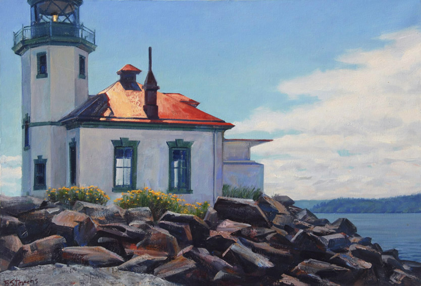 alki point lighthouse, lighthouse painting, landscape painting, oil painting