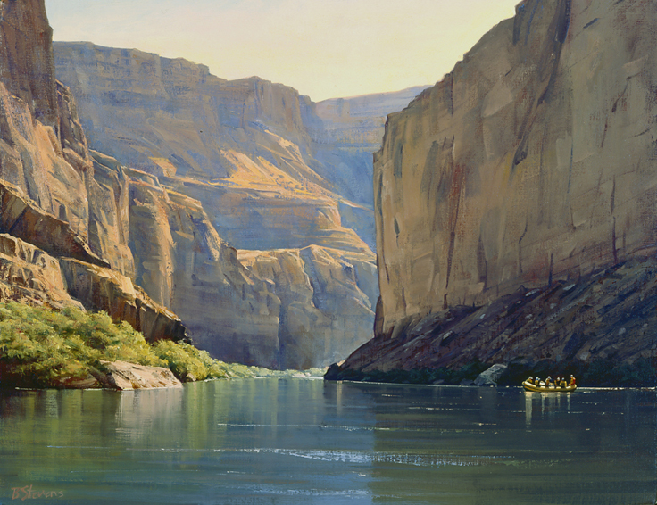 approaching rapids, landscape painting, oil painting, Grand Canyon landscape, Colorado River rafting, Colorado River landscape