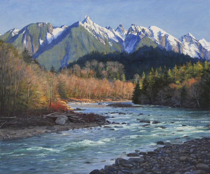 following the skykomish, landscape painting, oil painting, Skykomish River, Pacific Northwest landscape, Mt. Index