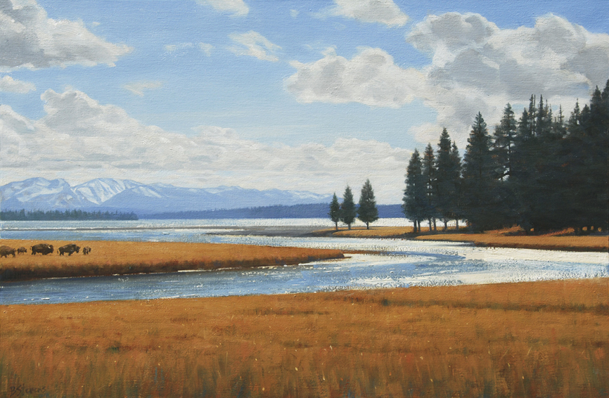 indian summer at yellowstone, yellowstone, landscape painting, oil painting, Yellowstone Lake
