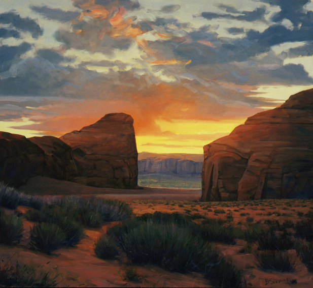 inner passage, landscape painting, oil painting, Southwestern landscape painting, Monument Valley Utah