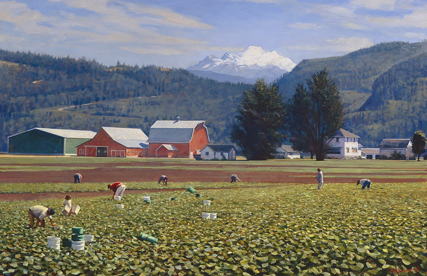 migrant workers, skagit valley, landscape painting, oil painting