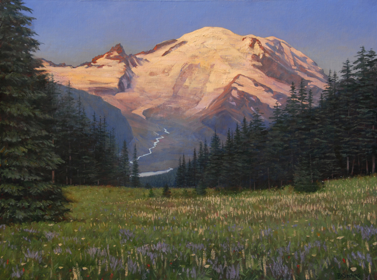 mount rainier sunrise, mount rainier, landscape painting, oil painting, Pacific Northwest landscape, Mt Rainier National Park, Mt. Rainier painting