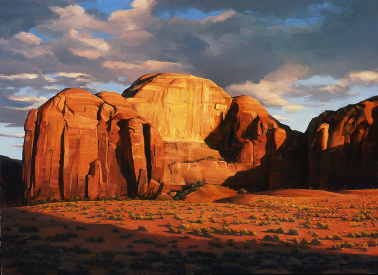 mystery valley shadows, landscape painting, oil painting, Southwestern landscape painting, Monument Valley Utah