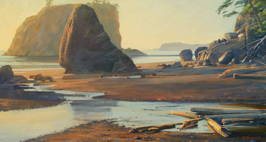 ruby beach, landscape painting, oil painting, Pacific Northwest landscape, Olympic Peninsula, Washington coast, beach painting