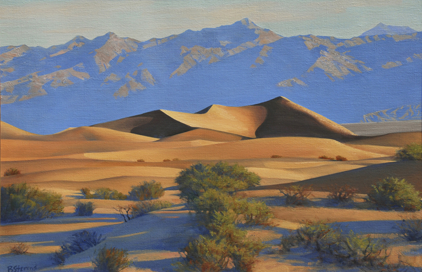 shifting sands, landscape painting, oil painting, Death Valley landscape, Death Valley sand dunes, California landscape painting