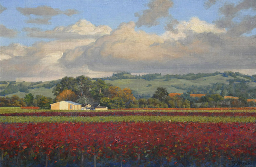 sonoma vineyards, landscape painting, oil painting, California landscape, California wine country, Sonoma landscape, vineyards painting