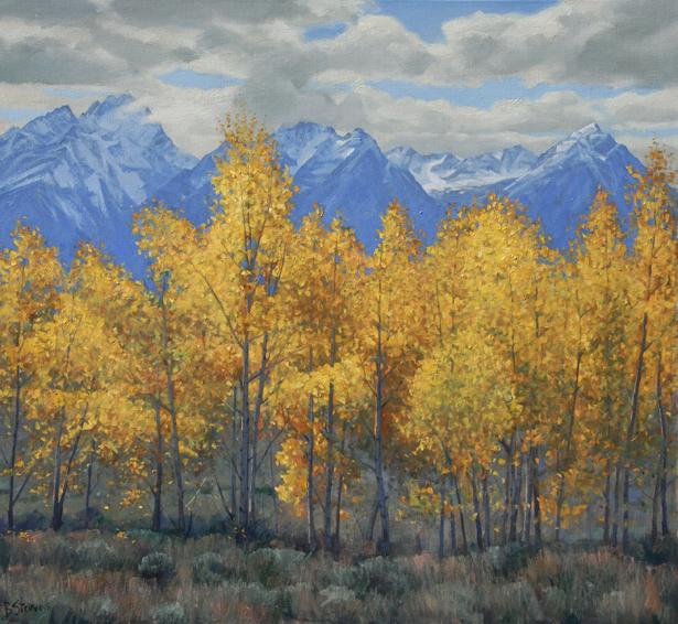 teton gold, landscape painting, oil painting, Western landscape painting, Grand Teton National Park, aspen trees in autumn