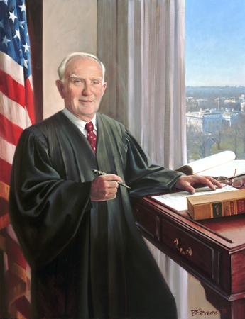 """Judge Glen L. Archer, Jr., 42"""" x 32"""", oil on linen, collection of the U. S. Court of Appeals, Washington, D.C."""