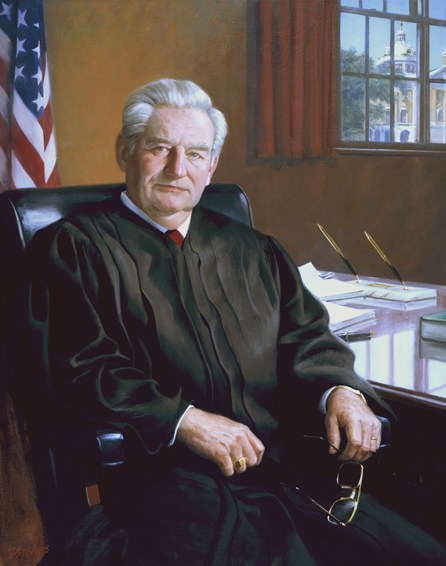 "Judge Sam Hall, Jr., 42"" x 34"", oil on linen, collection of U.S. District Court, Marshall, TX"
