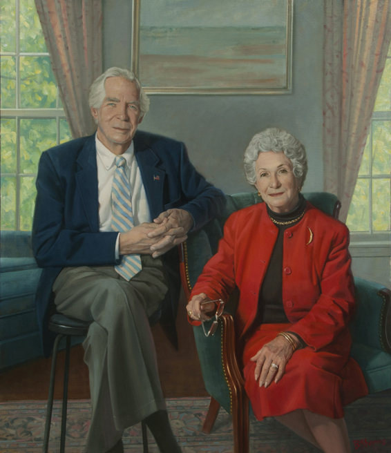 "Dr. and Mrs. Donald Lindberg, 56"" x 48"", oil on linen, collection of National Library of Medicine, NIH, Bethesda, MD"