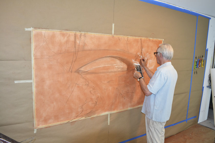 William Woodward begins the preliminary drawing for the Rock Creek mural