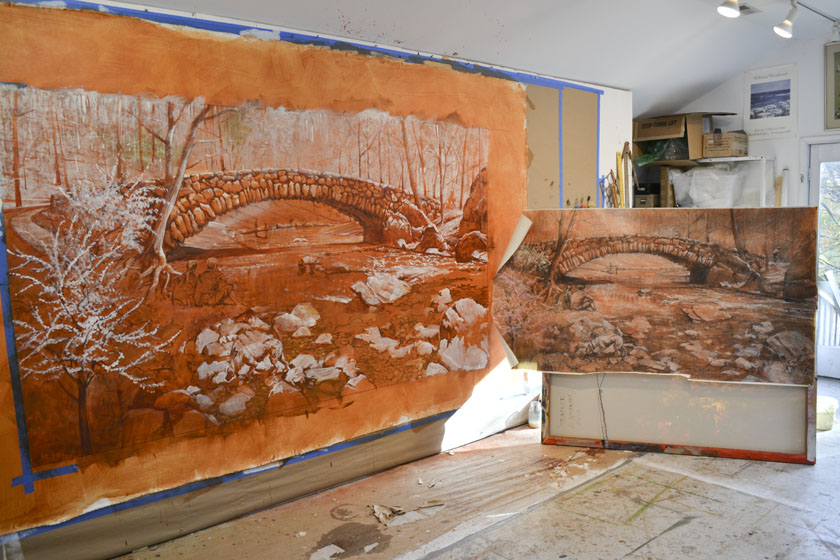 The mural underpainting and preliminary drawing side-by-side.